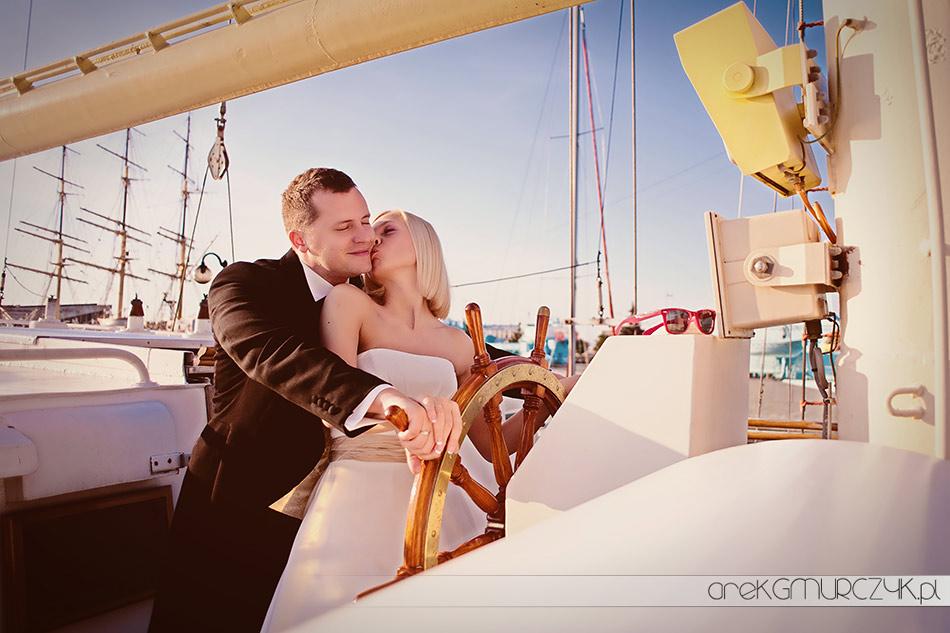 sesja ślubna na statku
