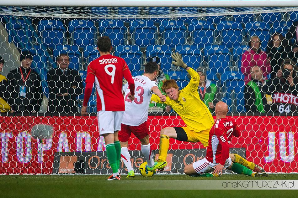 Paweł Brożek zdobywa bramkę w meczu z Węgrami