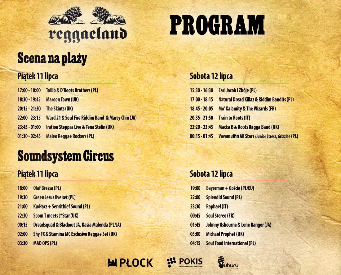 Program minutowy Reggaeland 2014