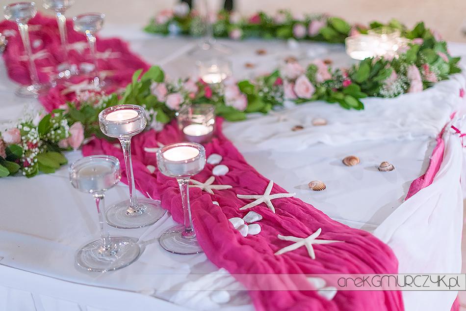 wesele nad brzegiem morza-dekoracja stołu