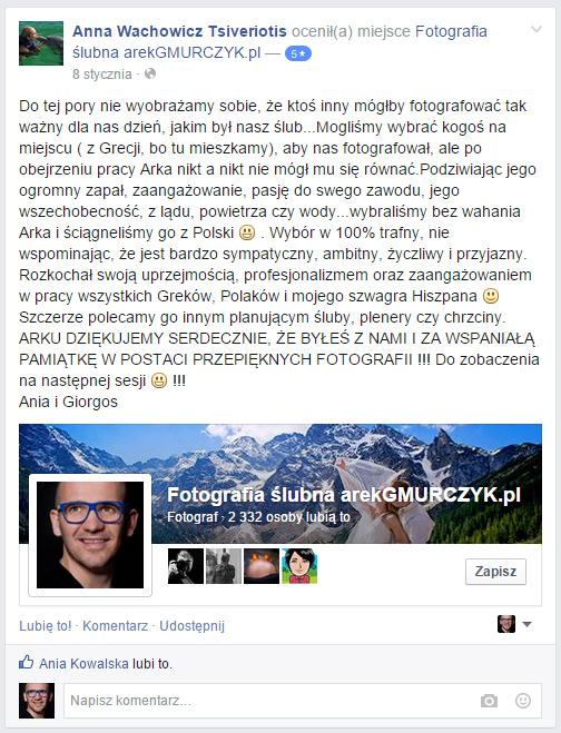 Opinie Arek Gmurczyk fotograf