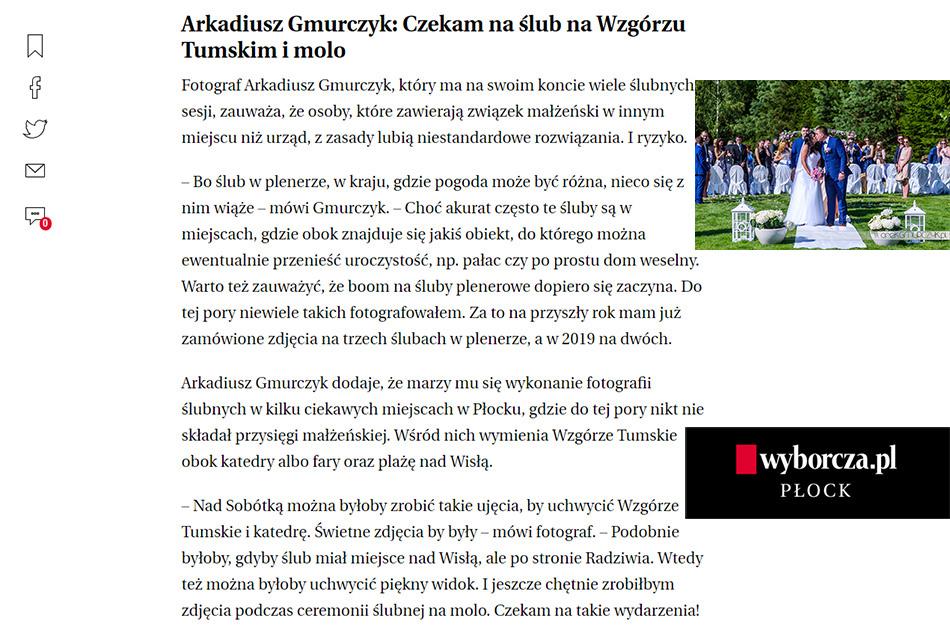 Płock, ślub w plenerze Gazeta Wyborcza