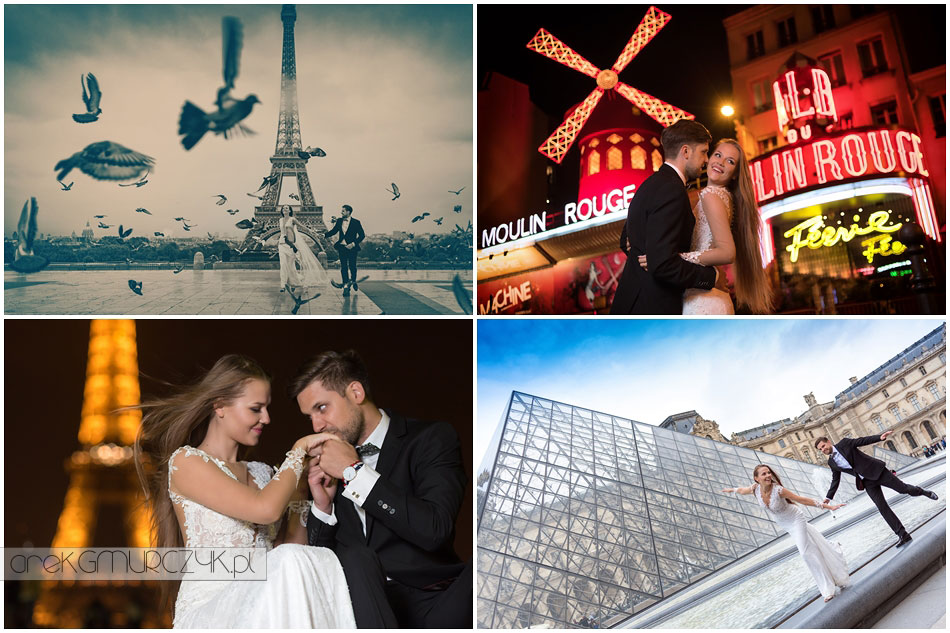 Sesja ślubna w Paryżu Justyny i Pawła. Wieża Eiffla, Luwr, Łuk Triumfalny, Pola Elizejskie, Moulin Rouge