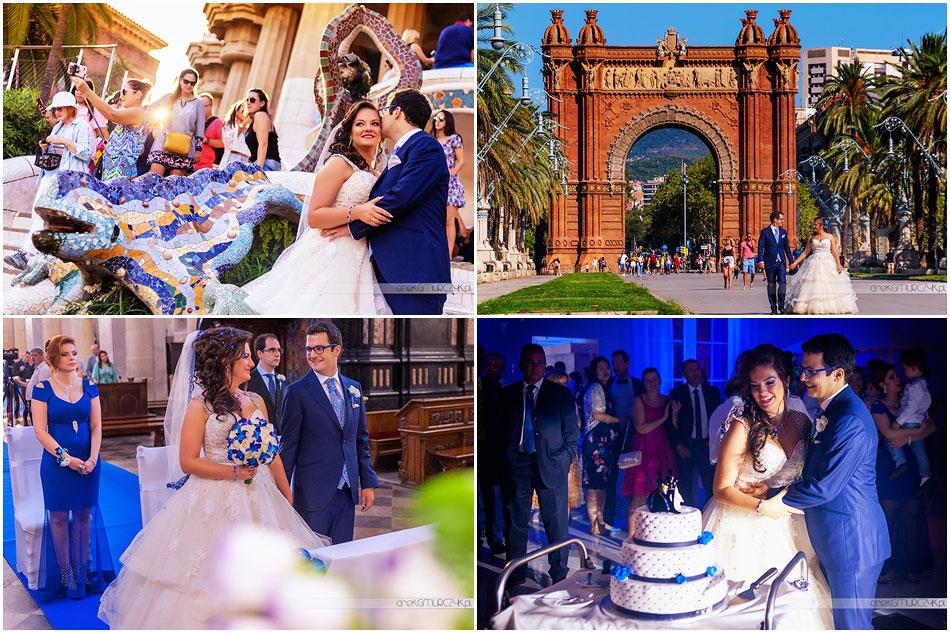 Reportaż ślubny Krysi i Davida. Ślub Katedra Płock, wesele Zajazd w Górach, sesja ślubna w Barcelonie