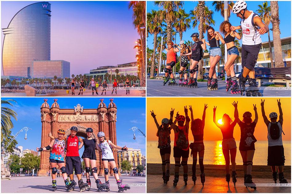 rolki, piękna pogoda i gorący klimat Barcelony